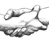drawing of two hands clasping at the wrist