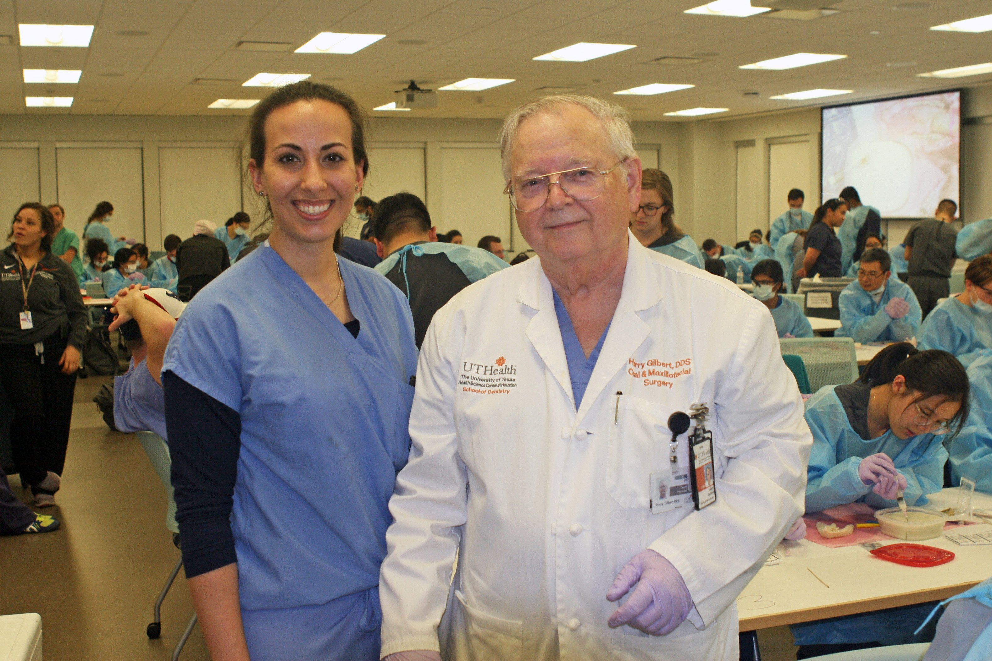 Butler Society President Victoria Manon with Harry D. Gilbert, DDS, professor in the Department of Oral and Maxillofacial Surgery.