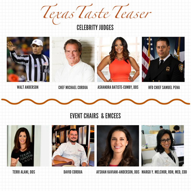 Texas Taste Teaser celebrity judges, event chairs and emcees