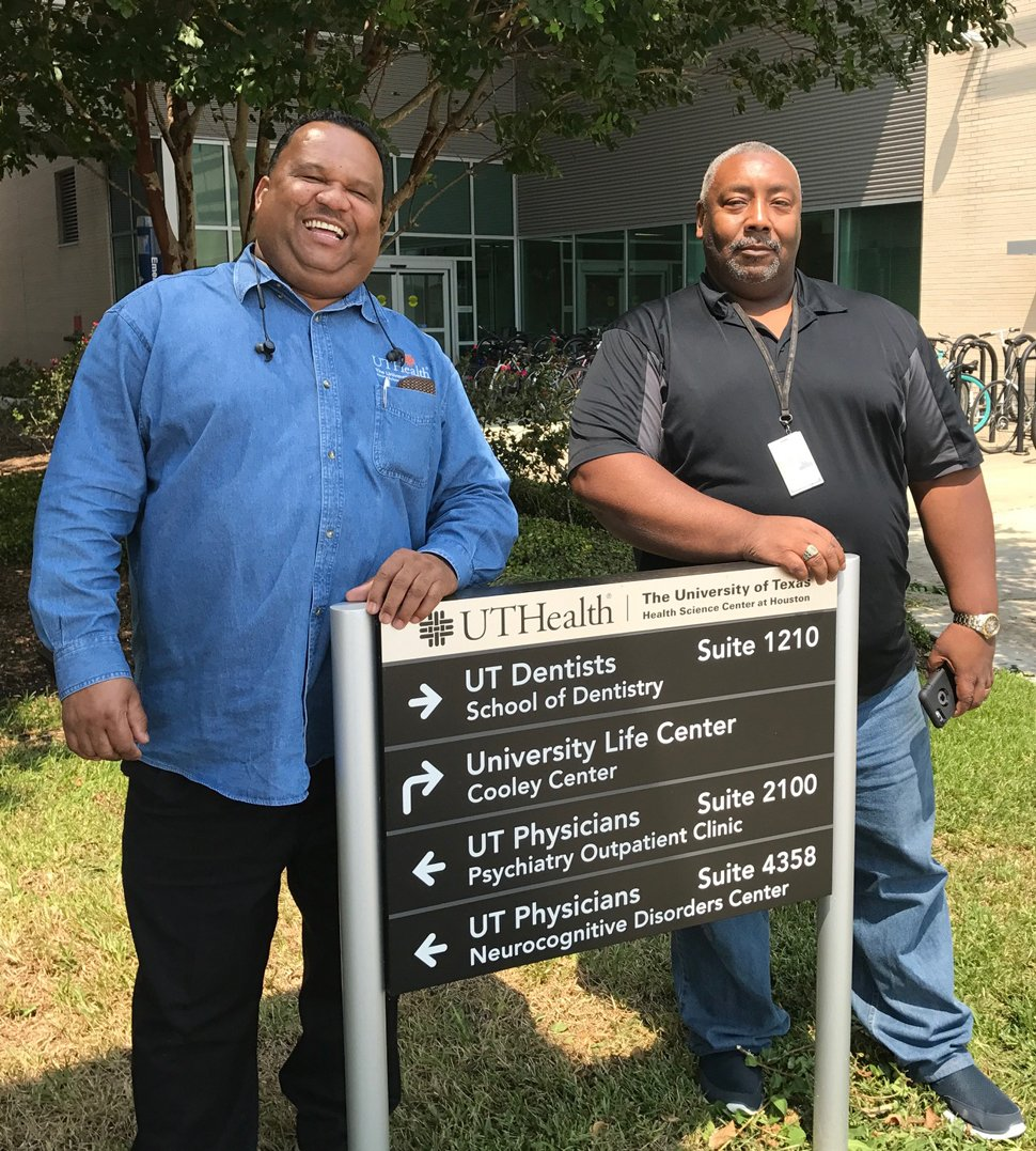 As essential personnel at UTHealth, Perry Guillory (left) and Phillip Dugas rode out Hurricane Harvey in the BBSB and School of Dentistry, respectively. Photo by Rhonda Whitmeyer.