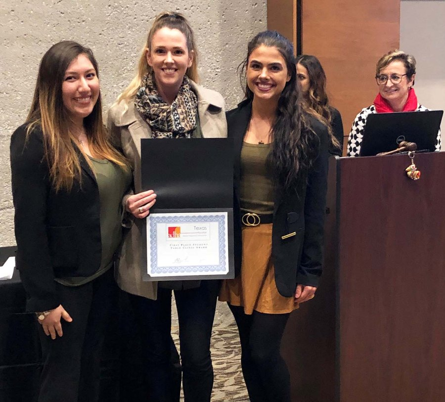 UTSD students (from left) Roxana Diaz, Rebecca Fowler, and Allison Stanley with their first-place award.