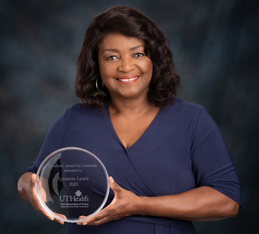 Lynnette Lewis displays UTHealth President's Award won in the category of management/administrative and professional.