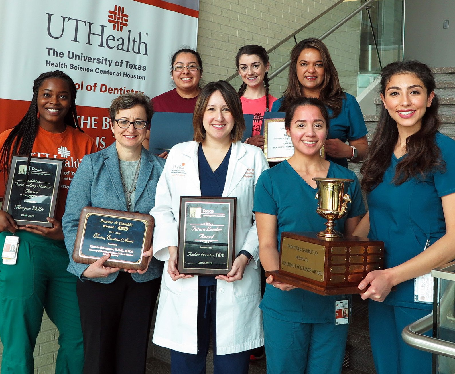 Dental hygiene award winners (from left) are Morgan Willis, Victoria Patrounova, RDH; Cristal Aldana-Lopez; Amber Lovatos, RDH; Shelby Burdoin; Karen D'Mello; Wendy Villa and Rosanna Mehrinfar.