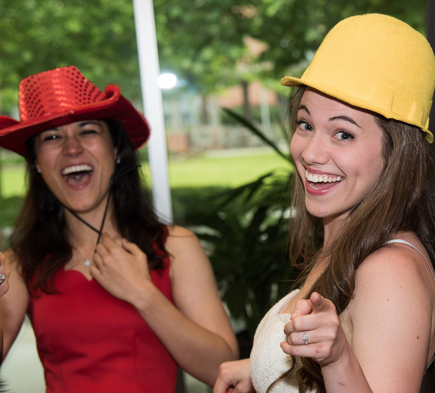 UTSD students Lara Raney (left) and Elizabeth Scott share a laugh at the 2018 Senior Awards Banquet in April. Photo by Brian Schnupp.