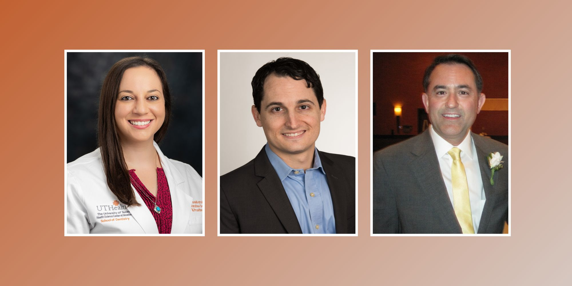 Photo of Magda R. AbdelFattah, DMD, MS, Aaron Glick, DDS, and Paul Levine, DDS on orange background