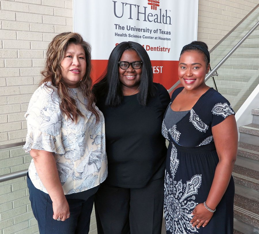 UTSD Staff Relations Council officers (from left) are Michelle Balderas, president; Kimberly Johnson, president-elect; and Kenni Allen, secretary/treasurer. Photo by Mallory LaSalvia.