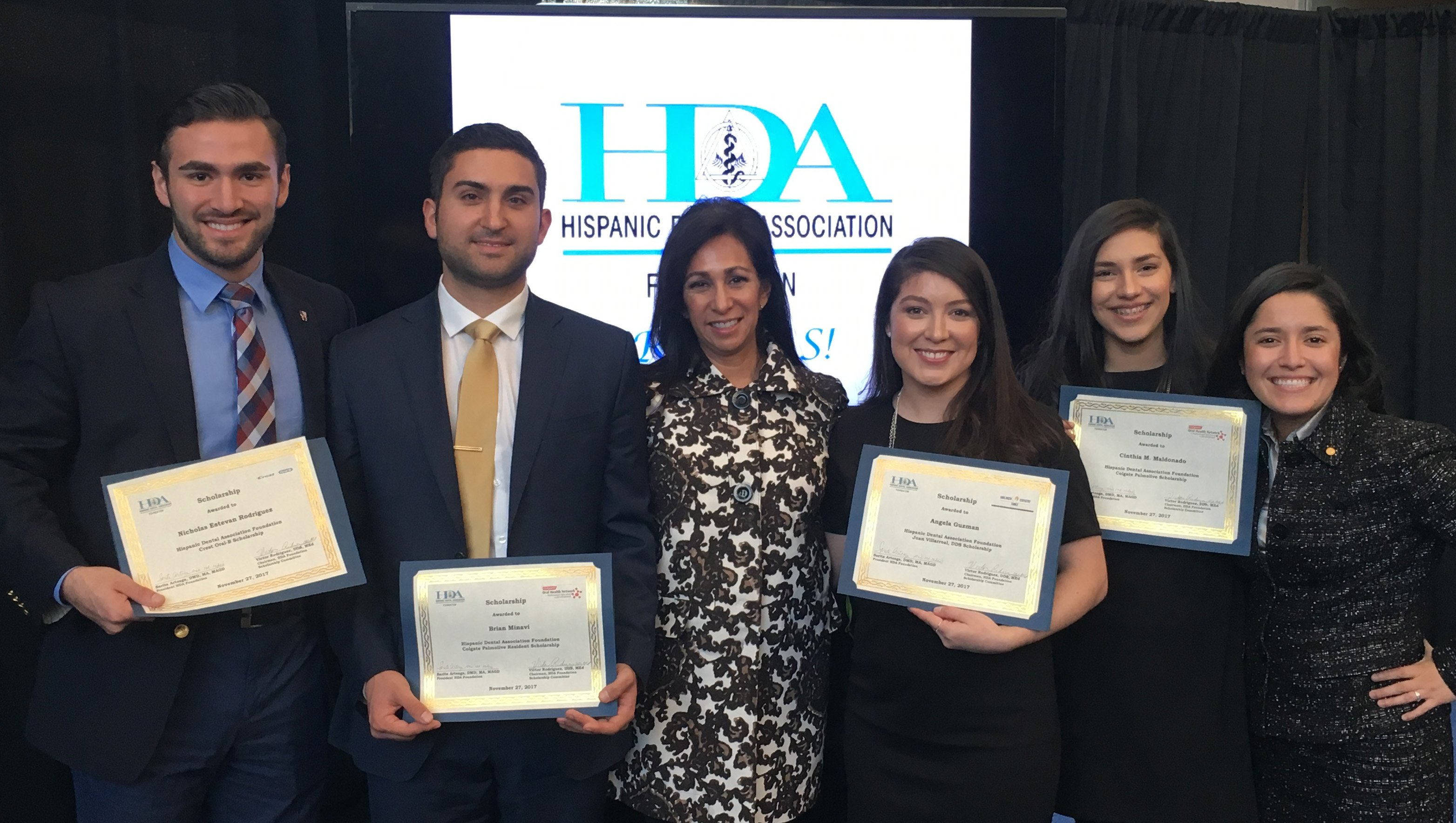 UTSD students took home scholarships thanks to the Hispanic Dental Foundation and their partners. From left are Nick Rodriguez, Dr. Brian Minavi, Dr. Margo Melchor, Angela Guzman, Cinthia Maldonado and Tanya Maestas.