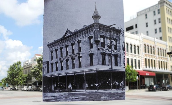 black and white photo of 1905 building held over color photo of the same place today