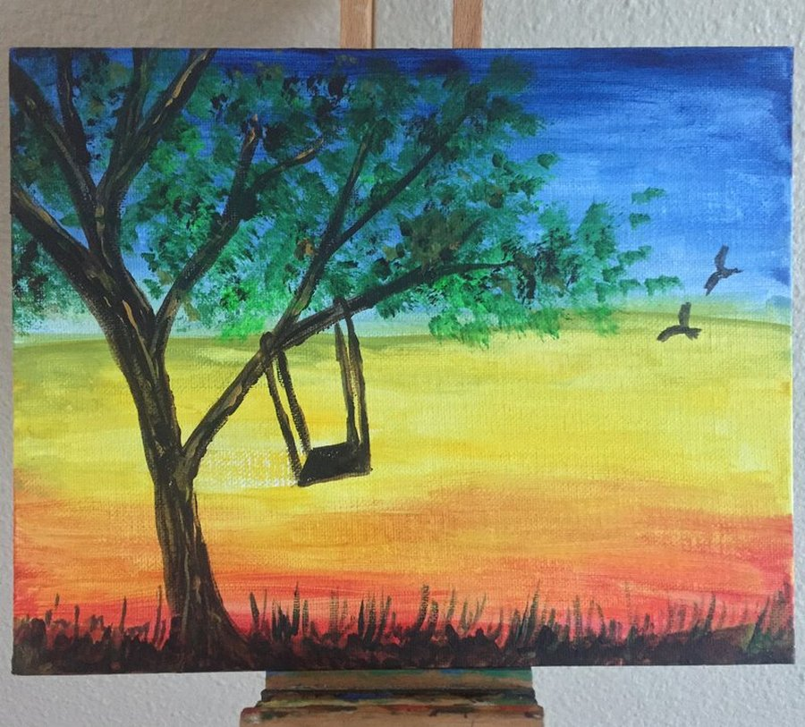 Attendees illustrated a swing hanging from a tree at sunset during Houston ASDA's online, paint-with-a-twist event.
