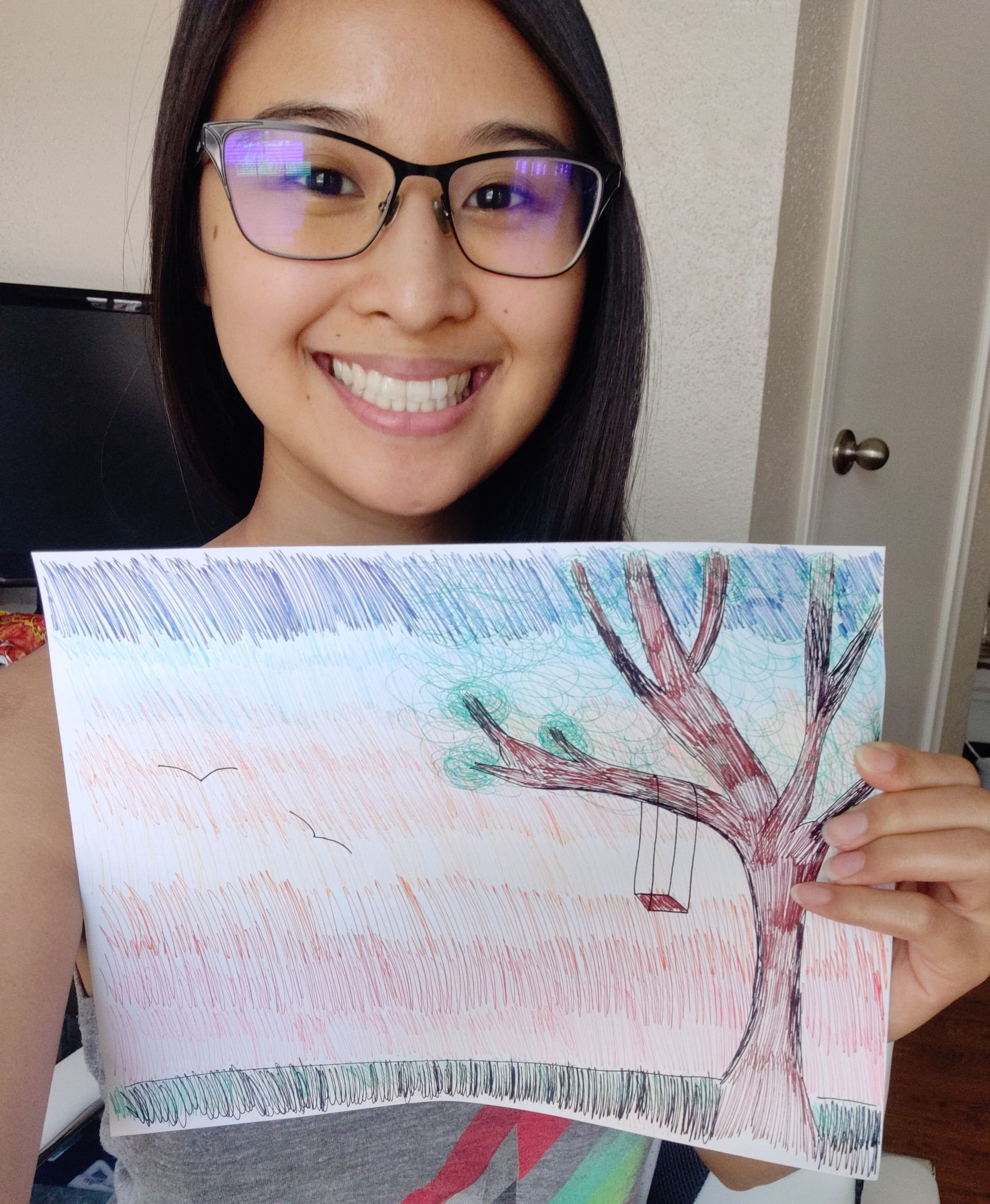 Dental student Joy Nisnisan used different colored pens as an alternative to paint brushes.