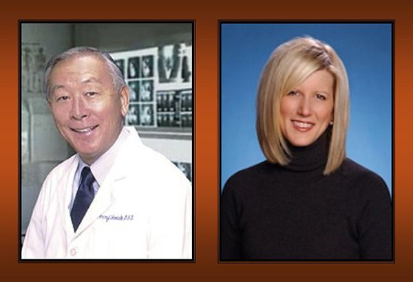 Portrait of Terry Tanaka, DDS, and Lisa Mallonee, RDH, MPH, on orange background