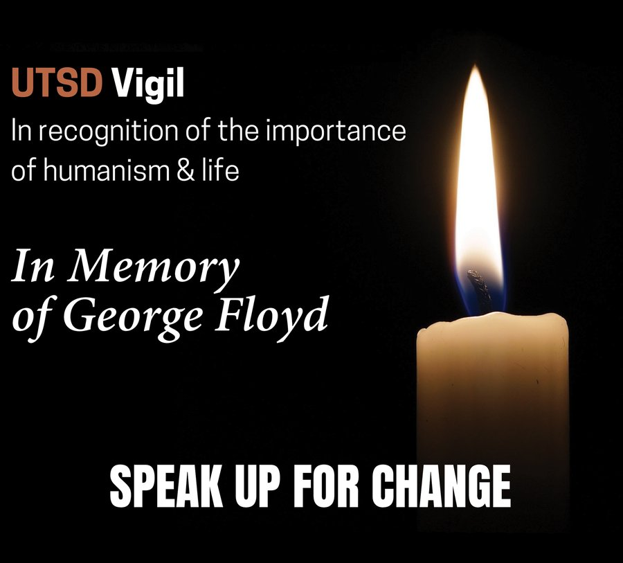 UTSD's Council on Diversity, Inclusion, and Wellness held a virtual vigil in memory of George Floyd on June 5.