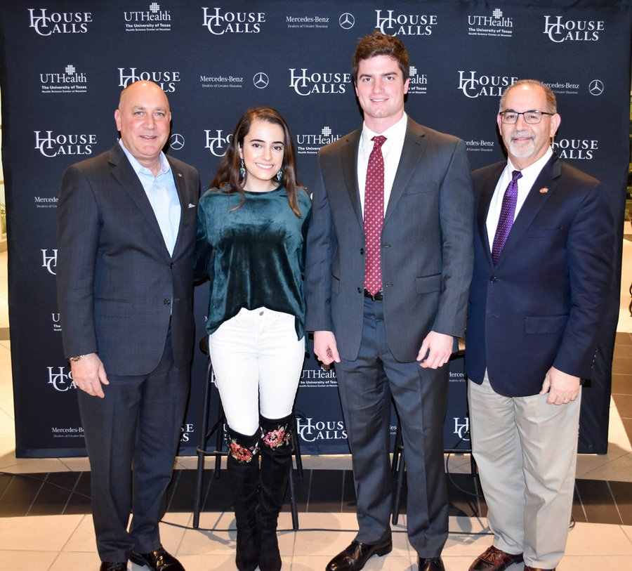 "Mercedes-Benz of Clear Lake General Manager Jerry Foyt (left), presented scholarships to dental students  Lucia Karam and Michael Andrews at a ""House Calls"" event attended by Dr. John Valenza, dean of UTHealth School of Dentistry."