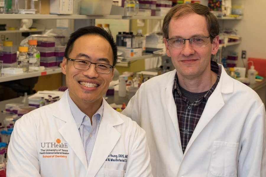 Dr. Simon Young (left) of UTHealth Houston and Dr. Jeffrey Hartgerink of Rice University have found a new way to improve survival rates in mice with head and neck cancer. Photo courtesy of Rice University.