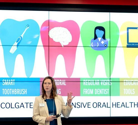 Dr. Cameron Jeter shared how she's combining her expertise in neurological disorders with dentistry to help individuals with parkinsonism, like her father, Randy Fahrenholtz, MD, MPH, at the inaugural Colgate Clinical Research Day.