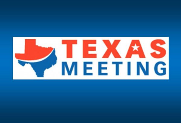 Texas Meeting logo on blue background