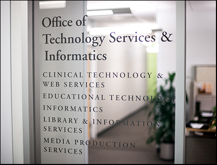 Technology Services & Informatics front window