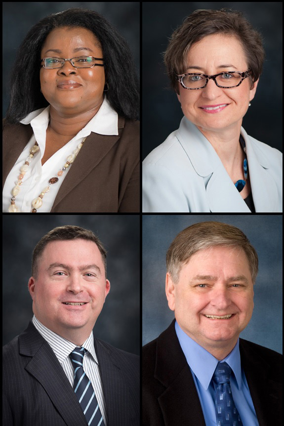 Clockwise from top left: Tobacco Dependence Education Team members Dr. Ngozi Nwizu, Victoria Patrounova, Dr. Charles Streckfus and Dr. Richard
