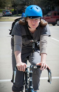 Dental student Brittni Wait rides a bike to school daily.