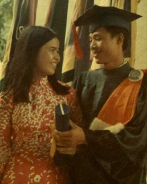 Susie Hoa Vu and her future husband, James Nguyen Thang, at his graduation from dental school in 1972. They married the next year in Saigon.