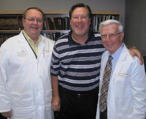 Department of Orthodontics Chair Jeryl English, DDS, MS (left) and Jim Reeves of American Orthodontics (center) hosted a surprise luncheon July 1 recognizing Clinical Professor Fred Garrett, DDS, MSD for 50 years in practice.