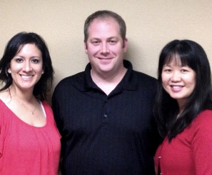 Three Carus owner-doctors who graduates from UT School of Dentistry from left are Candy Rodriguez, DDS '06; Chip Silvertooth, DDS '98; and Cathy Tran, DDS '01.