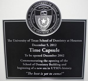 Plaque over the 2012 Time Capsule
