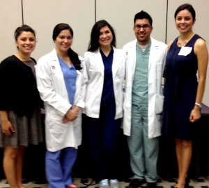 UTHealth student panelists at Career and Education Day from left were Krystal Garza, School of Nursing;  Faryn Vela,  Nadia Garza and Aaron Menchaca, all of the School of Dentistry; and Claudia Mendez, School of Public Health.