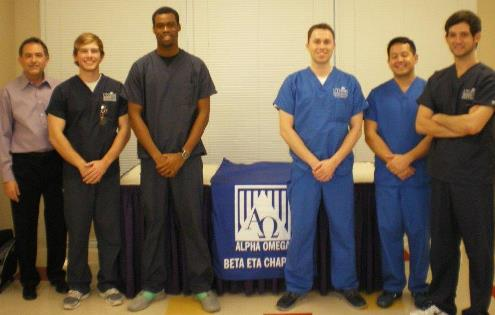 Alpha Omega volunteers at the Kingdom Builder's Church Health Fair in early December include (from left) faculty sponsor Paul Levine DDS, and UT School of Dentistry students Austin Anderson, Nick Ayoade, Justin Tullis, Greg Luk and Chad Fruithandler.