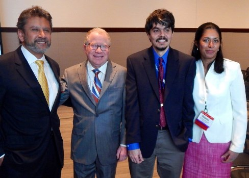 Thirteen UTSD employees have been elected to serve as ADEA officers, including Dr. Dharini van der Hoeven (far right).  She is pictured with (from left) Dr. Kamal Busaidy, Dr. Gerald Glickman and Dr. Ransome van der Hoeven, her husband and UTSD colleague.