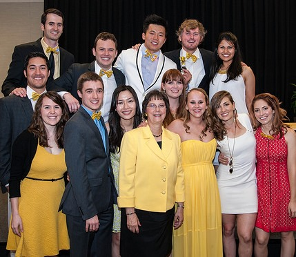 Members of the Yellow Practice Group, led by Clinical Assistant Professor Debra Stewart, DDS (center), gathered for a photo at the Senior Awards Banquet in April. Front row from left are Candice Denison, Samuel Carrell, Hieu Minh Truong, Dr. Stewart, Randi Mellon, Ashley Marcks, Candice Hodges and Amanda Pooler. Back row from left: Bryce Gates, John Hoover, Sean LaRue, Xu Liang, Colt Riley and Khushbu Patel.