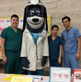 Dental hygiene students James Sun, Angela Wan and Tan Ngo participated in a health fair at Ridgecrest Elementary School.
