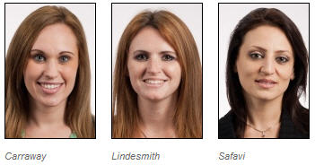 Dental hygiene students Holly Carraway, Jennifer Lindesmith and Farnaz Safavi will present their award-winning table clinic project at the ADHA annual session in Boston.