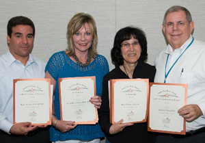 Individual winners of Dean's Excellence Awards (from left) are Dr. Renato Silva, Donna Warren-Morris, RDH, MEd; Dr. Robin Weltman and Dr. Sam Dorn.