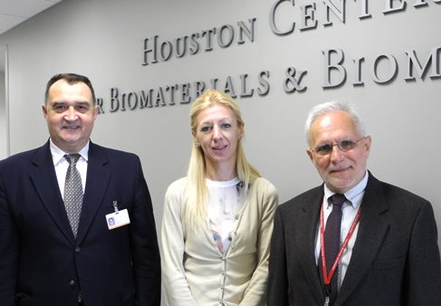 HCBB Director Rade D. Paravina, DDS, PhD (left) and HCBB Research Associate Aleksander Aleksic, PhD (right), welcome visiting scientist Branka Trifkovic, DDS, PhD of the University of Belgrade School of Dentistry.