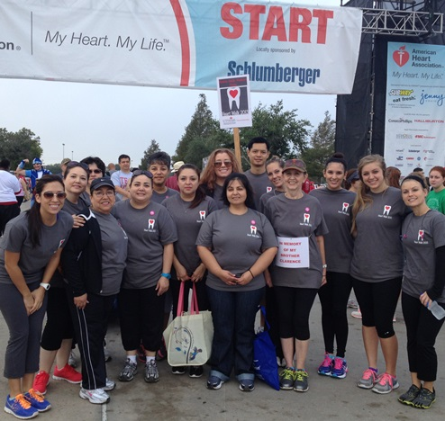 The Hearty Smile Walkers gather at the starting line of the 2013 Houston Heart & Stroke Walk Nov. 14. From left are Suzette Soca, Mary Lou Arvizu, Marina Munoz, Maria Luisa Arvizu, Liliana Arvizu, Elma Gallardo, Team Captain Nancy Frias, Sally Service, Maria Rodriguez, Tan Ngo, Sarah Cox, Inga Leon, Skyler Jones, Jennifer Ward and Heather Ellis.