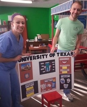 First-year dental students Katie Womack and Austin Faulk volunteered to teach children at local apartment complexes about oral health.