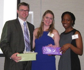 UTHealth Student InterCouncil representatives Austin Ledingham and Margie Sutton (center) won the 2014 Thomas F. Burks Awards for Outstanding Leadership and Service.  Also pictured is SIC Vice President Natoya Peart.