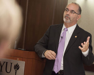 Dean John A. Valenza, DDS, speaking at NYU School of Dentistry.